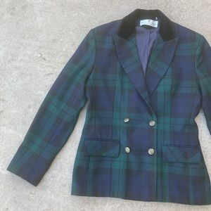 Plaid vintage double breasted velvet blazer jacket
